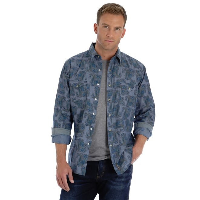 Mens Retro Blue Paisley Print Denim Shirt