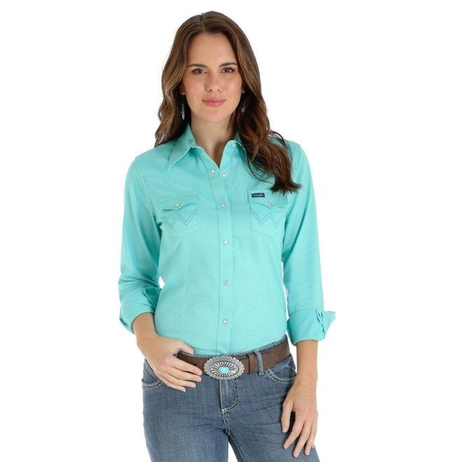 Ladies Turquoise Western Snap Shirt
