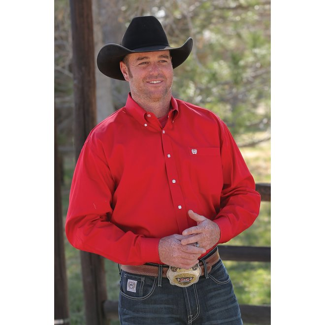 Cinch Solid Weave Red Shirt