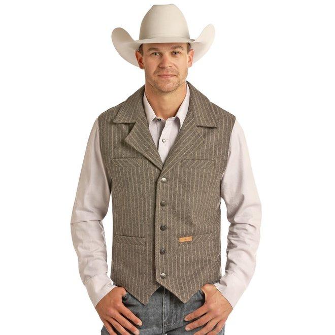 Mens Wool Heather Stripe Vest