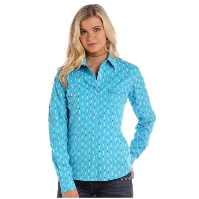 Ladies Turquoise Feather Print Snap Shirt