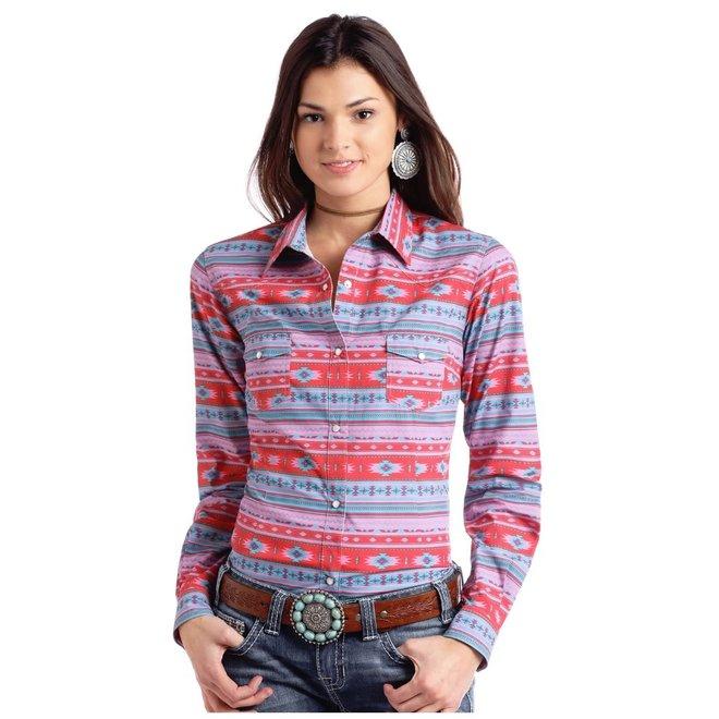 Ladies Aztec Print Snap Shirt