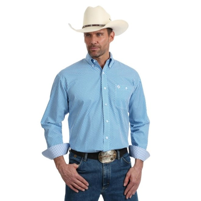 Mens George Strait Blue White Print Shirt