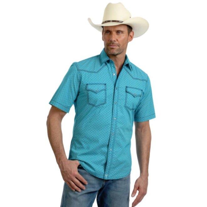 Mens Advanced Comfort Turquoise Print Snap Shirt