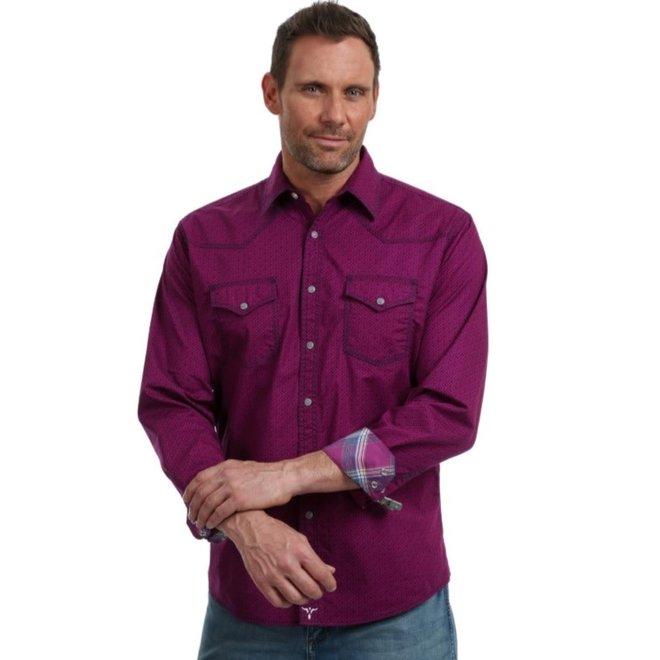 Mens 20X Competition Purple Geo Print Snap Shirt