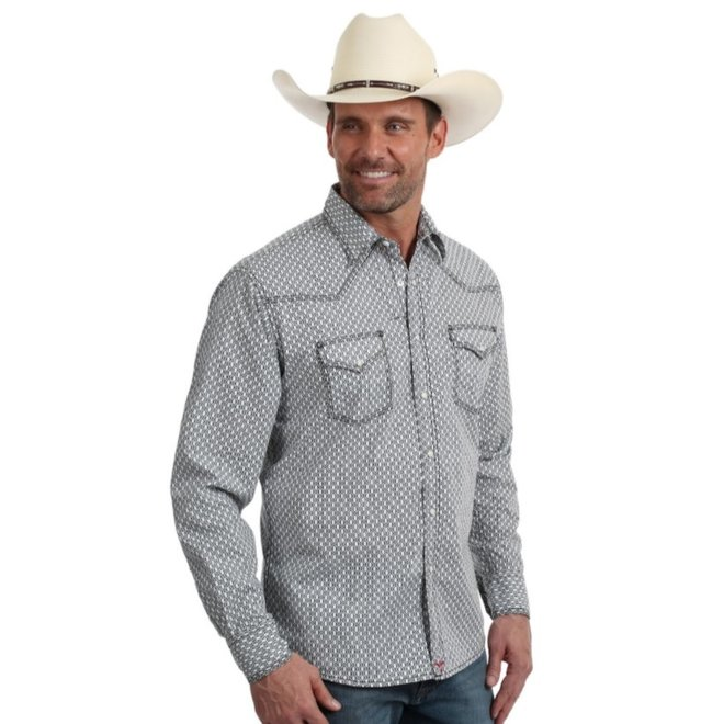 Mens Black White Geo Print 20X Shirt