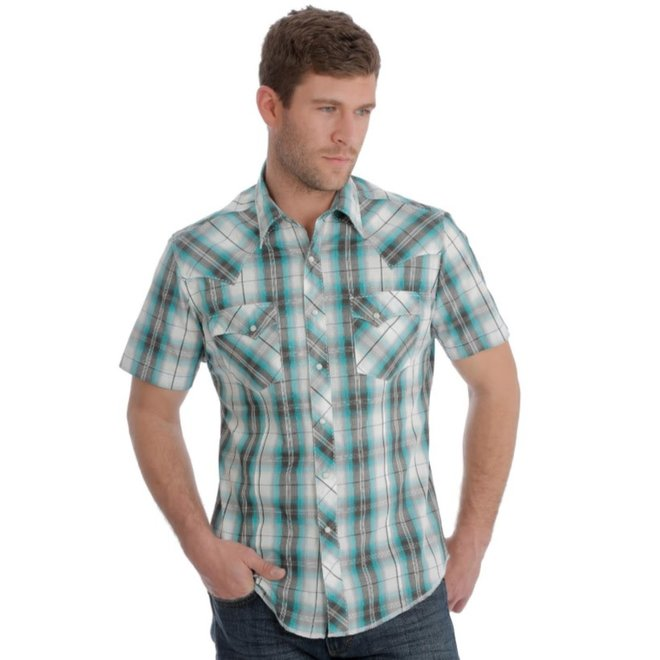 Mens Plaid Western Snap Shirt