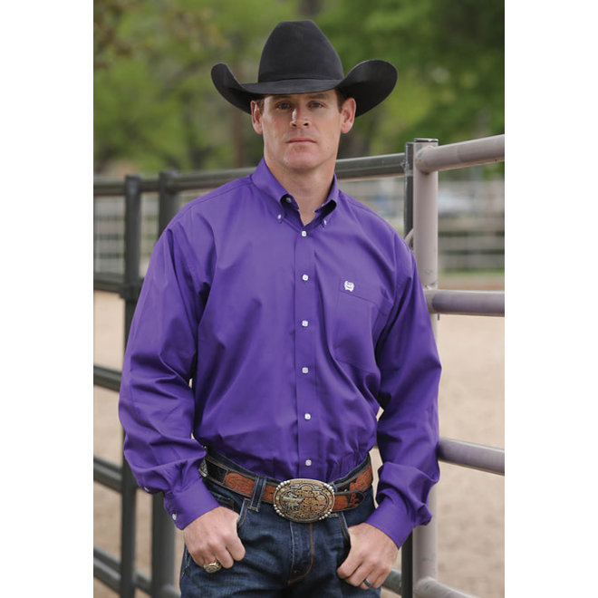Mens Solid Weave Purple Shirt