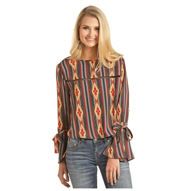 Ladies Aztec Printed Blouse L
