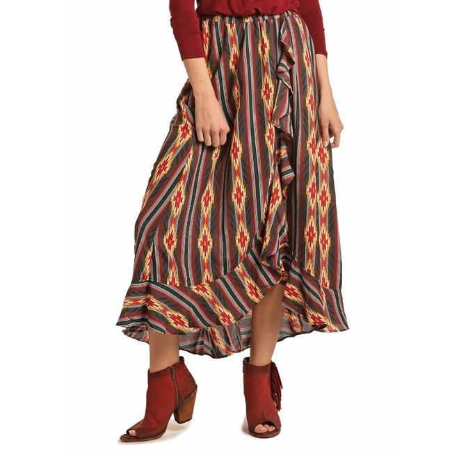 Ladies Hi-Low Faux Wrap Skirt S
