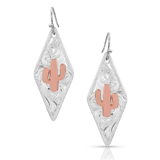 Two Tone Diamond Cactus Earing