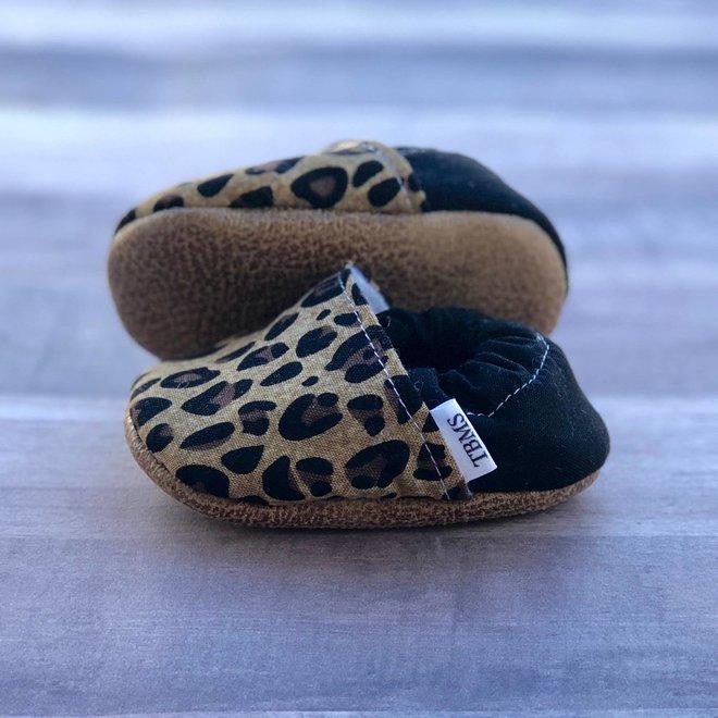 Tan Leopard Moccasins