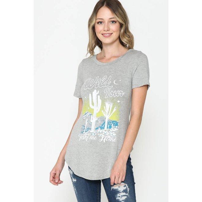 Cactus Round Hem T-Shirt
