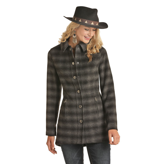 Ladies Ombre Wool Twill Plaid Coat