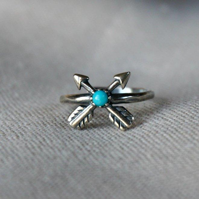 Cross Arrow Turquoise Ring