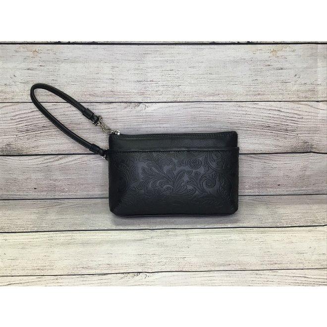 Cheyenne Leather Wristlet   Black