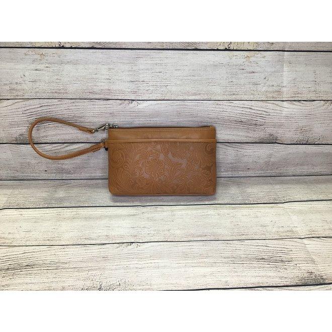 Cheyenne Leather Wristlet   Brown