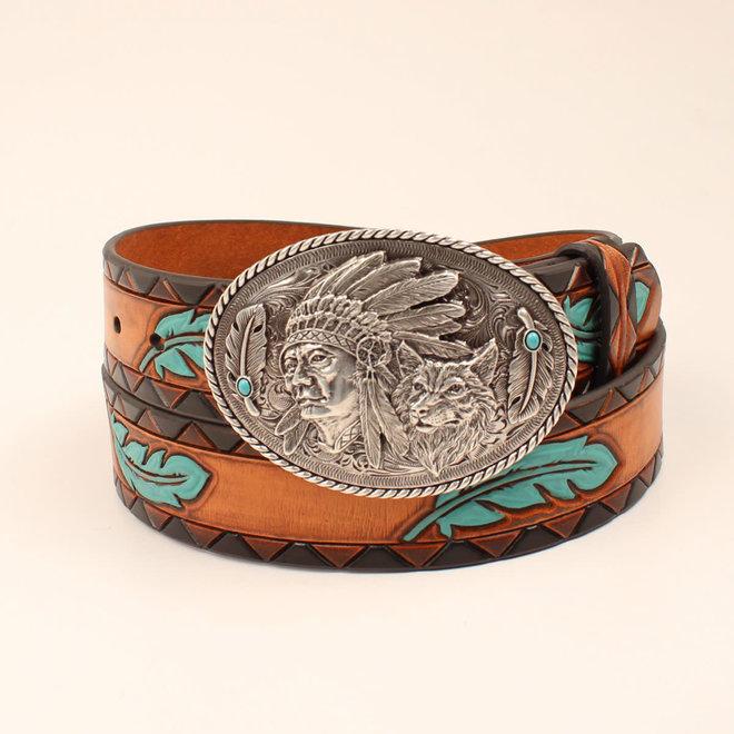 Ladies Turquoise Feather Aztec Edge Belt