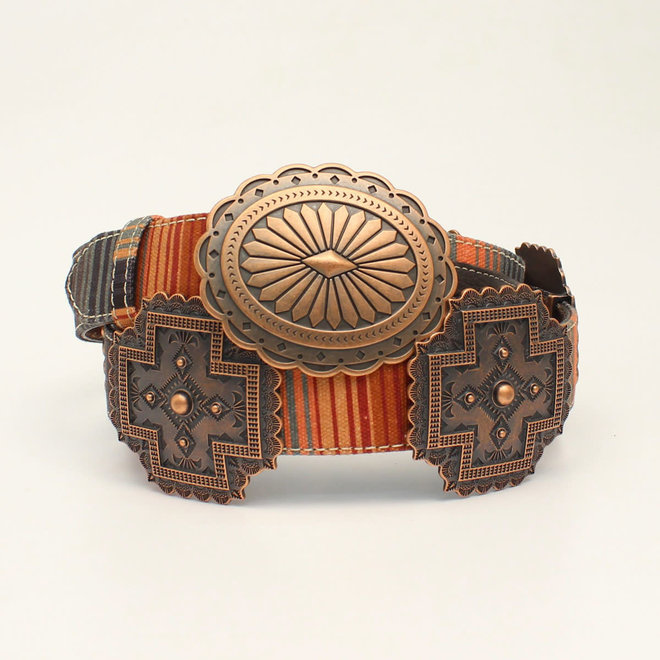 Ladies Serape Copper Cross Concho Belt