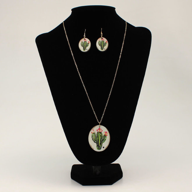 Cactus Flower Round Necklace Earrings Set