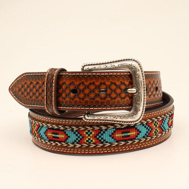 Mens Embossed Braided Horsehair Belt