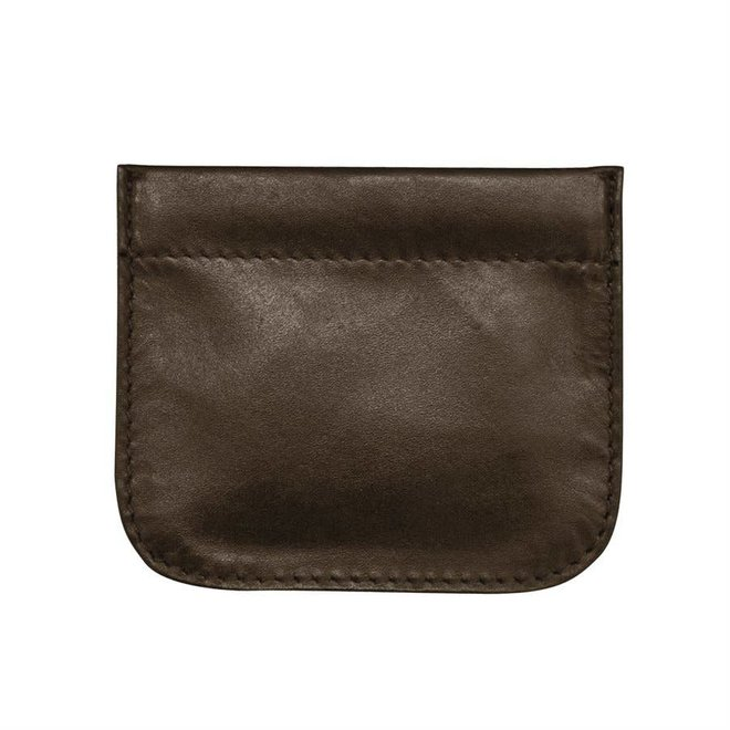 Leather Squeeze Coin Holder Brn