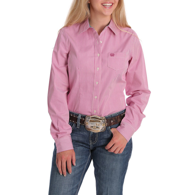 Cinch Orchid and White Striped Performance Shirt