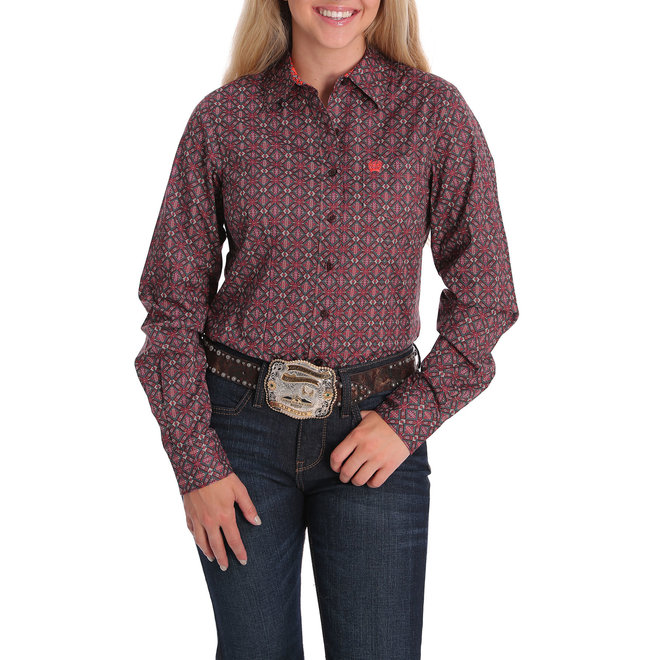 Cinch Geometric Pink and Turq Performance Shirt