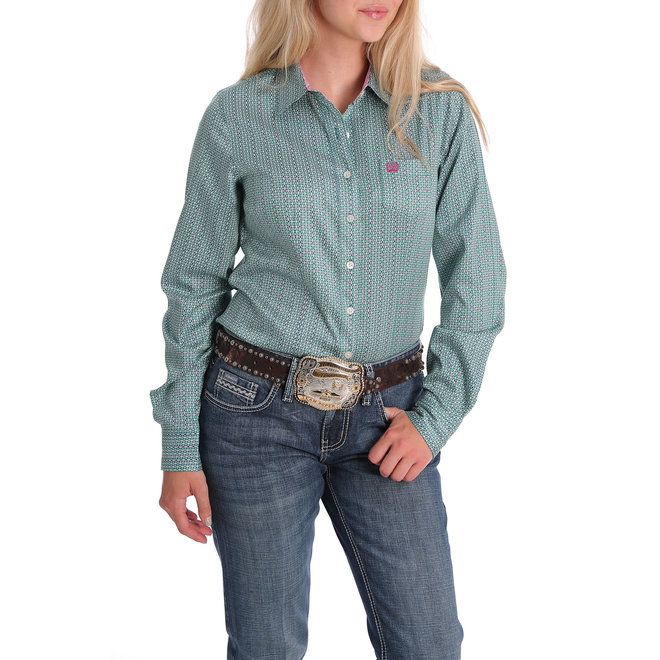 Cinch Tencel Green and White Geometric Performance Shirt