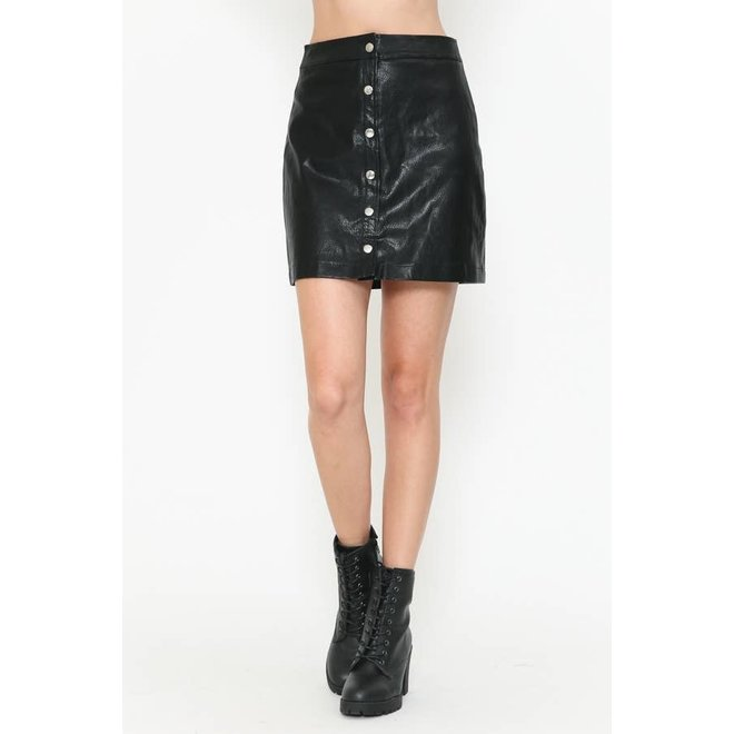 Front Button Faux Leather Skirt