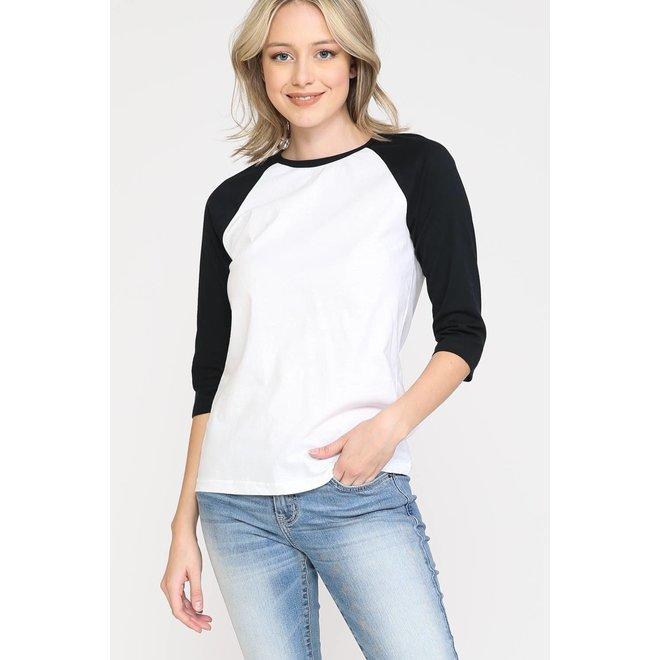 Basic Raglan Sleeve White/Black