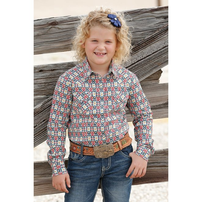 Girls Red and Turquoise Geometric Print Performance Shirt