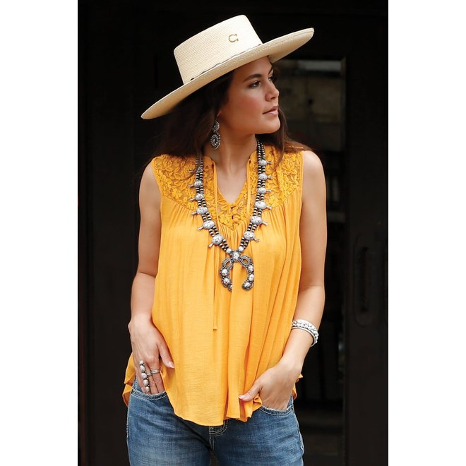 Yellow Sleeveless Blouse