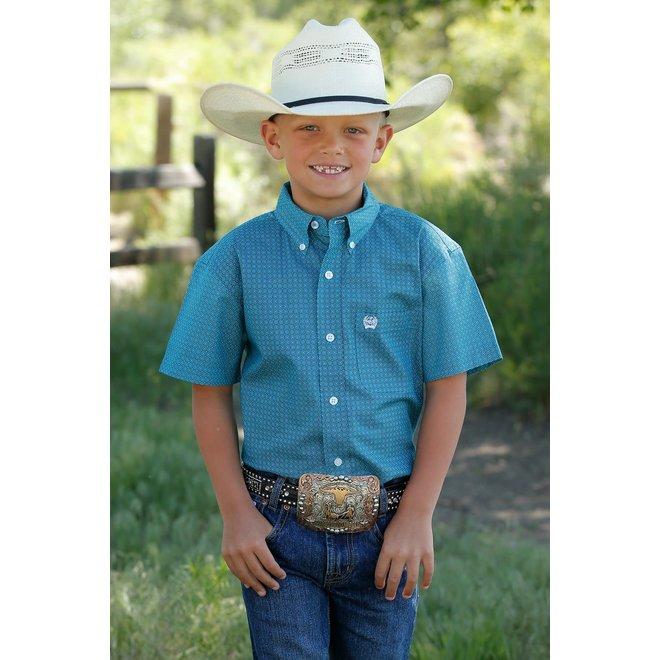 Boys Short Sleeve Blue Micro-Geometric Print Button Down Shirt