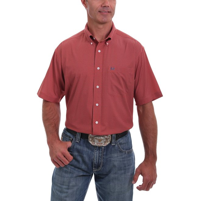 Short Sleeve  Red and Navy Arena Flex Button Down Shirt