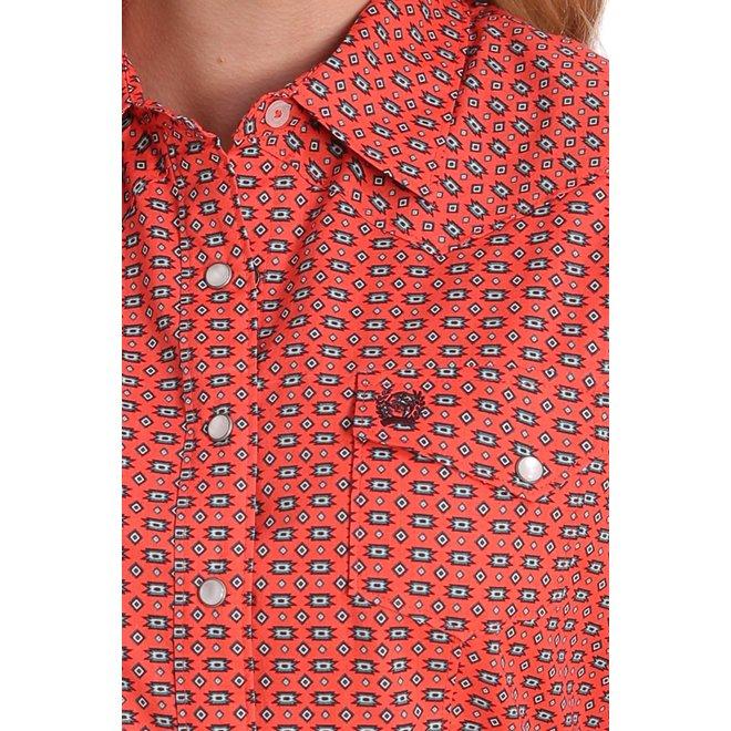 Coral Southwest Print Snap Performance Shirt