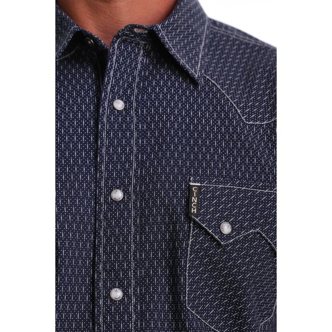Modern Fit Navy and White Geometric Print Snap Performance Shirt