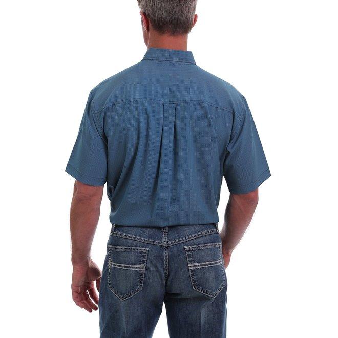 Arena Flex Short Sleeve Button Down -Blue and Black Basket Wave Print
