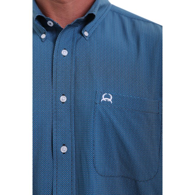 Arena Flex Short Sleeve Button Down -Blue and Black Basket Wave Print