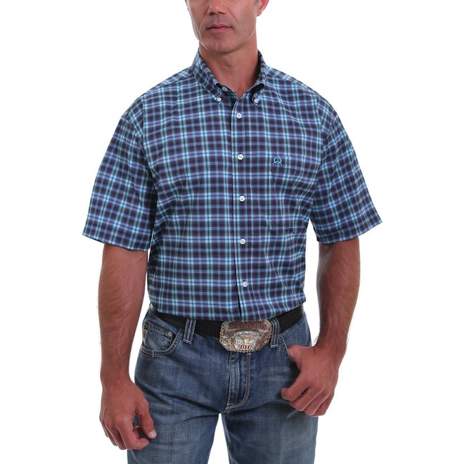 Arena Flex Short Sleeve Button Down Shirt-Blue, Turquoise and Purple Plaid
