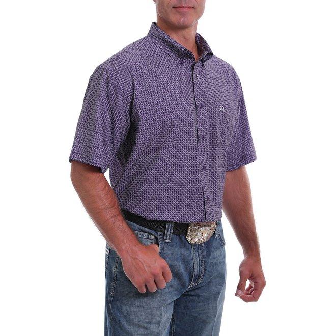 Arena Flex Short Sleeve Button Down Shirt-Purple and White Geometric Print