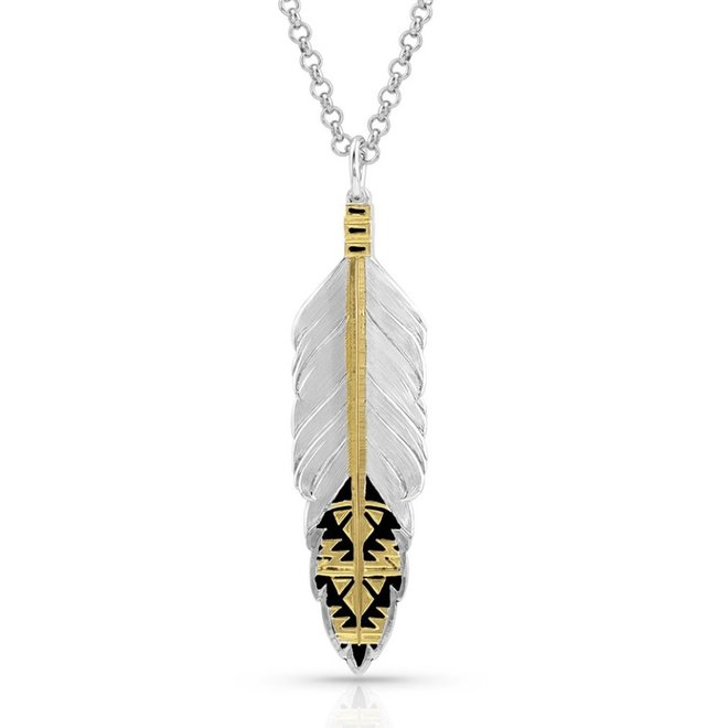 Sedona Ranch Feather/Gold Necklace