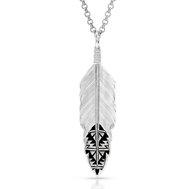 Sedona Ranch Feather/Sil Necklace