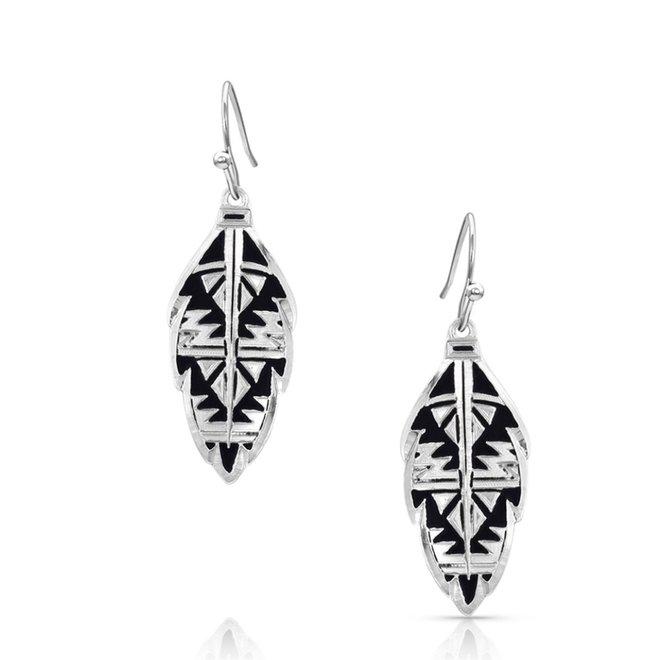 Sedona Ranch Feather/Sil Earrings