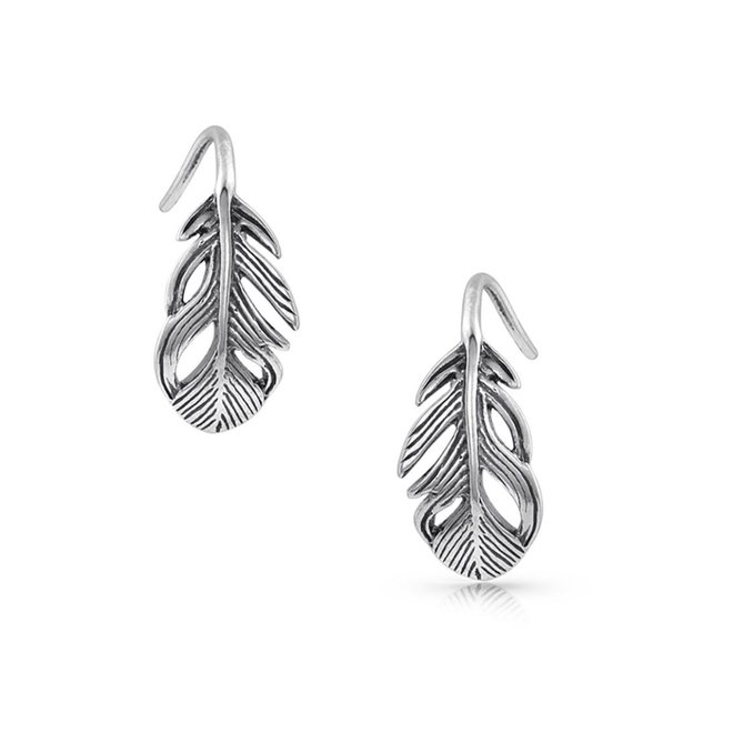 Tiny Feather Hook Earrings