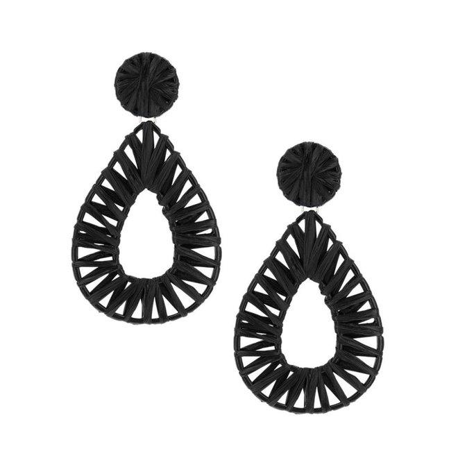 Charcoal Tears Raffia Earrings
