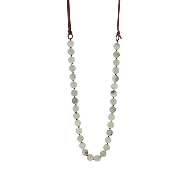 Turq Marble Bead Strand Necklace