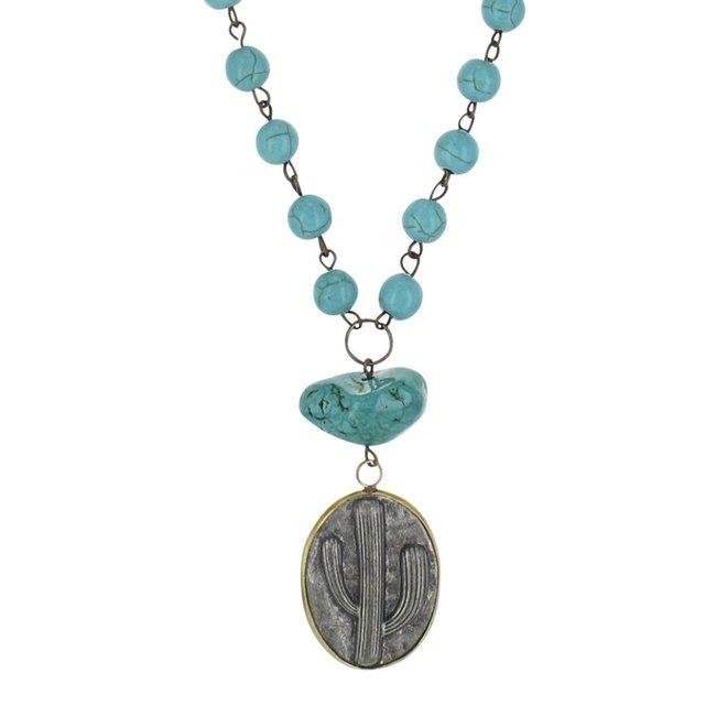 Antiqued Cactus Disc Necklace