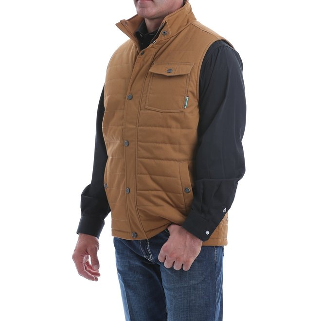 MEN'S QUILTED WAX COATED CANVAS VEST - BROWN