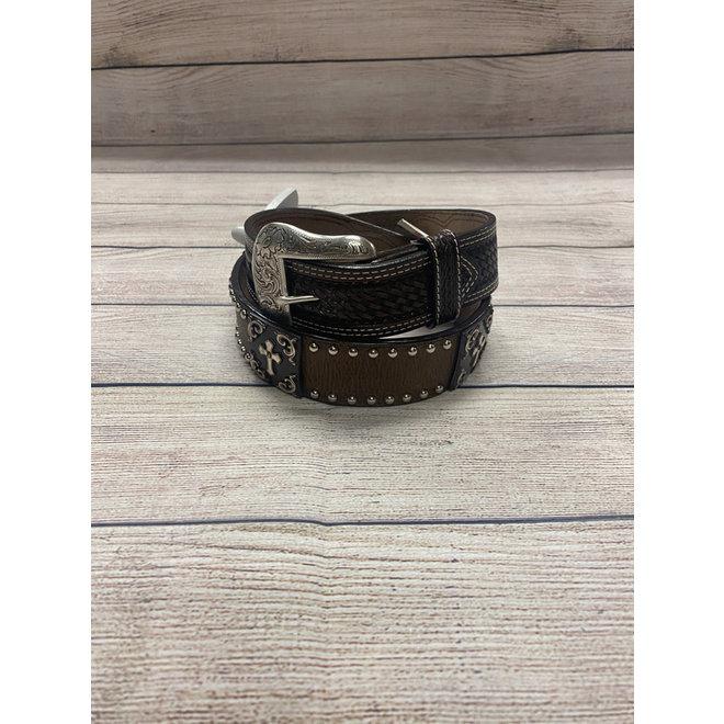 Brown Cowhide Belt with Cross 30